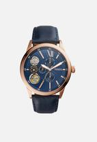 Fossil - Fynn leather - navy & rose gold