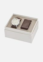 Fossil - Flynn pilot leather gift set - brown