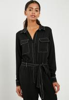 Superbalist - Boiler jumpsuit with contrast stitching - black