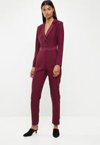 Superbalist - Longsleeve tailored jumpsuit - burgundy