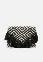 Missguided - Aztec tassel clutch - black & white