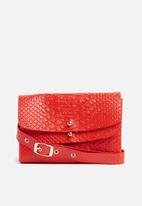Missguided - Multi layer faux leather waist bag - coral