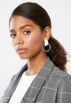 Superbalist - Liz half moon earrings - grey & white