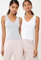Superbalist - V-neck vest 2 pack  - grey & white