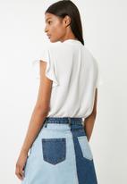 Superbalist - Ruffle sleeve key hole blouse - white