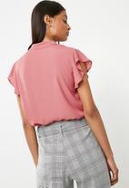 Superbalist - Ruffle sleeve key hole blouse - pink