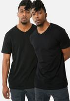 Superbalist - Vee neck tee - 2 pack - black