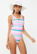 Missguided - High leg low side stripe swimsuit - multi