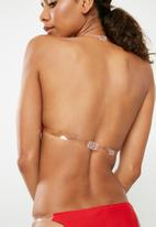 Missguided - Clear strap triangle bikini set - red