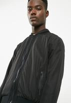 basicthread - Poly woven lined bomber jacket - black