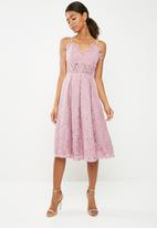 Missguided - Lace strappy midi skater dress - pink