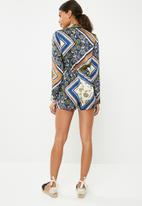Missguided - Printed wrap front shirt playsuit - multi
