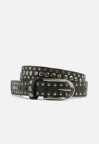 Missguided - Thin metallic detail belt - black