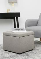 Sixth Floor - Square storage ottoman - light grey
