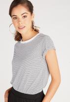 Supré  - Baby tee - white & black stripe