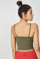 Supré  - Luxe high neck crop - khaki