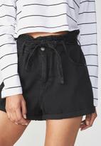 Cotton On - Paperbag short - washed black
