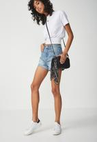 Cotton On - High rise flashback denim short - blue