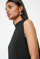 Superbalist - Turtle neck blouse with wrap back - black