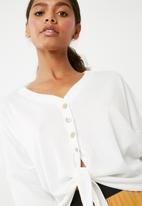 Superbalist - Cut & sew tie front top - white