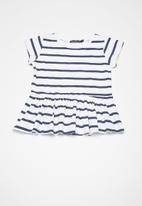 Superbalist - Kids girls peplum tee - navy & white