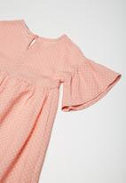 Superbalist - Fluted sleeve dress - pink & white