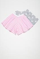 Superbalist - Kids girls 2 pack culotte knit shorts - multi