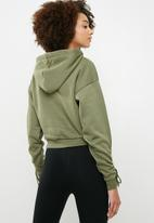 dailyfriday - Cropped ruched sleeve hoodie - green
