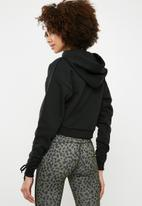 dailyfriday - Cropped ruched sleeve hoodie - black