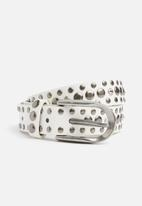 Missguided - Thin metallic detail belt - white