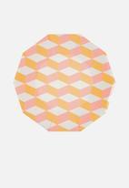 Meri Meri - Blush cubic plates - orange & pink