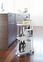 Yamazaki - Tower slim kitchen storage cart - white