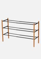Yamazaki - Plain extendable shoe rack 3 tier - black