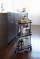 Yamazaki - Tower slim kitchen storage cart - black