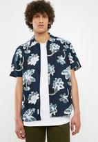Bellfield - Hadrian printed short sleeve shirt shirt - navy