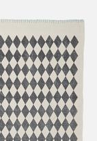 Sixth Floor - Croci printed rug - grey & blue