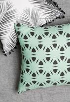 Sixth Floor - Trellis tile cushion cover - green & black
