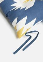 Sixth Floor - Outdoor seat cushion - aztec navy & mustard