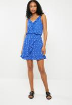 ONLY - Rubbi wrap dress - blue & white