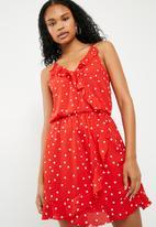 ONLY - Rubbi wrap dress - red & white