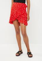 ONLY - Rubbi wrap skirt - red & white