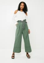 ONLY - High waisted wide leg pants - green