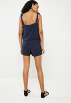 ONLY - Summer strap woven playsuit - navy