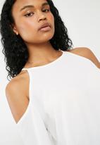 Superbalist - Cold shoulder dip back blouse - white