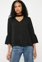 Superbalist - Choker blouse with bell sleeve - black