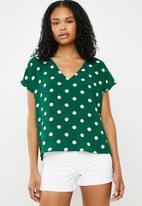Superbalist - V-neck blouse - green & white