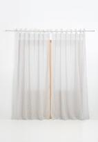 Sixth Floor - Fine stripe tie top curtain - grey & white