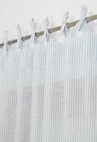 Sixth Floor - Fine stripe tie top curtain - duck egg & white