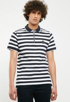 Jack & Jones - Atlas zip stripe polo - navy & white