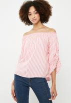 ONLY - Sailor off shoulder top - pink & white